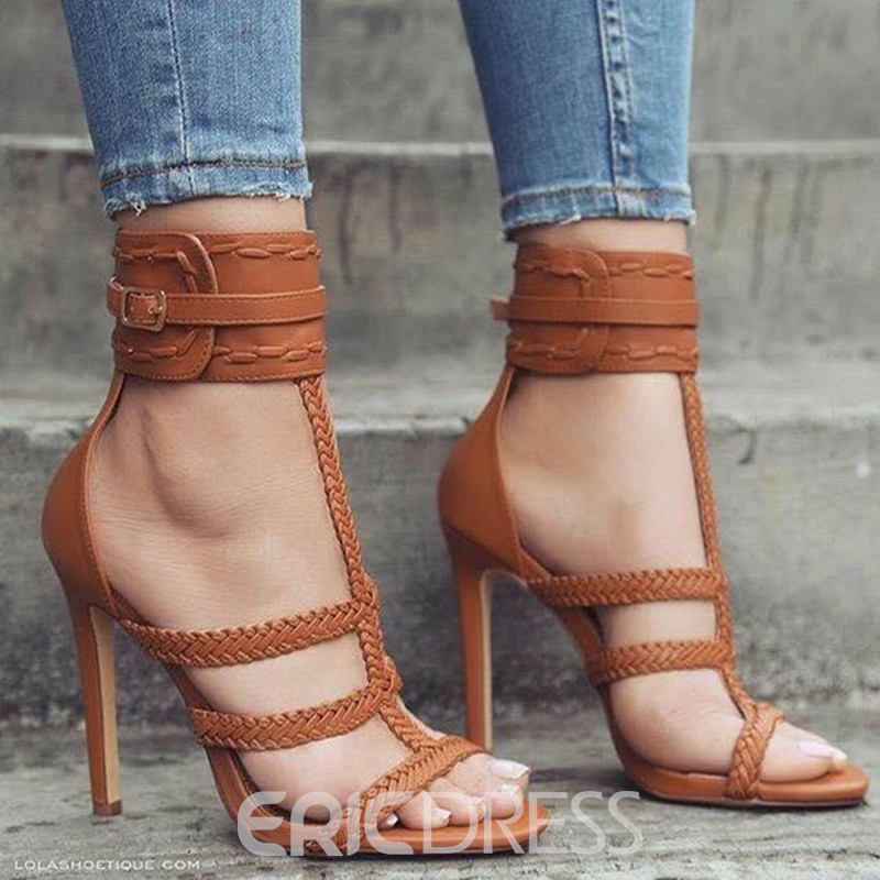 Ericdress Buckle High-Cut Plain Open Toe Stiletto Sandals