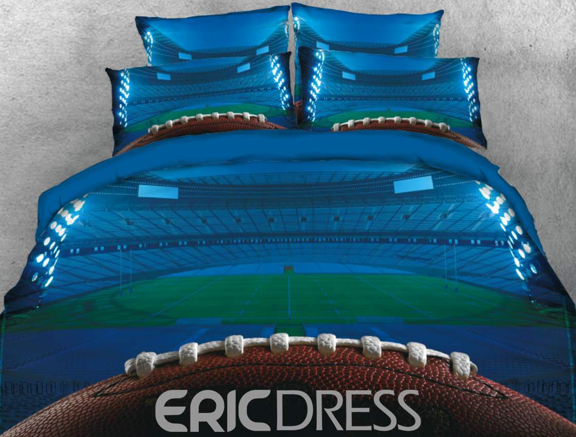 Vivilinen Rugby and Field Printed Blue 4-Piece 3D Bedding Sets/Duvet Cover