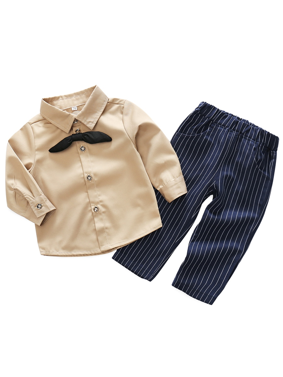 Ericdress Bowknot Shirt with Stripe Pants Baby Boys' Outfit