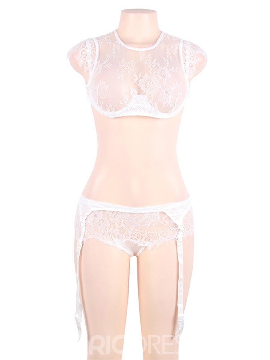 Ericdress See-Through Lace Bra Set with Garter