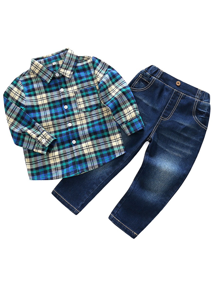 Ericdress Plaid Shirt with Jeans Baby Boys' Outfit