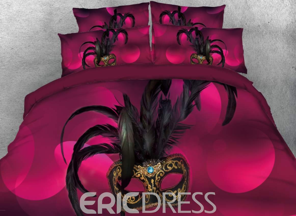 Vivilinen 3D Luxuriant mask with Feather Printed 4-Piece Pink Bedding Sets/Duvet Covers