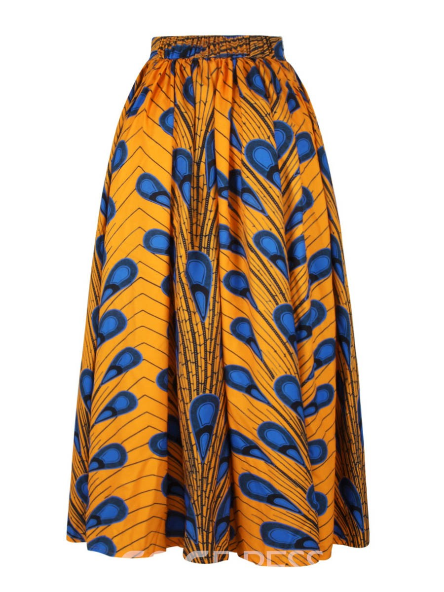 Ericdress Dashiki Mid-Calf Elastics Women's Skirts