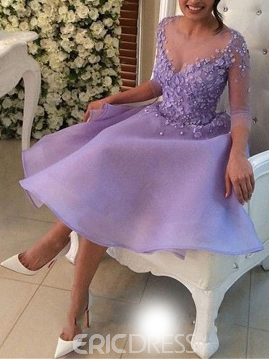 Ericdress 3/4 Sleeve Flower Applique Short Homecoming Dress With Button Back