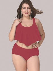 ERICDRESS.COM, Plain Ruffles 2-Pcs Tankini Set - $21.60