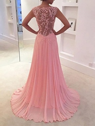 Ericdress A Line V-Neck Appliques Lace Sweep Train Evening Dress - $134.64