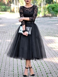 Ericdress A-Line 3/4 Sleeves Black Lace Evening Dress In Tea-Length thumbnail