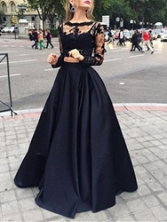 Ericdress Long Sleeves Two Pieces Lace Black Prom Dress