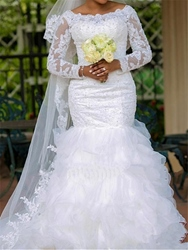 Ericdress Appliques Mermaid Plus Size Wedding Dress with Sleeves