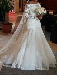 Wedding Dress Off The Shoulder Long Sleeves Mermaid - $185.62