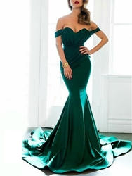Image of Ericdress Fancy Mermaid Off The Shoulder Cap Sleeve Court Train Evening Dress