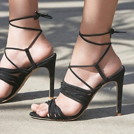 Ericdress Strappy Open Toe Lace-Up Stiletto Sandals