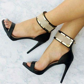 Ericdress Sequin Open Toe Zipper Plain Stiletto Sandals