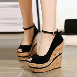 Ericdress Peep Toe Plain Platform Wedge Sandals