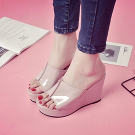 Ericdress Plain Slip-On Platform Wedge Heel Mules Shoes