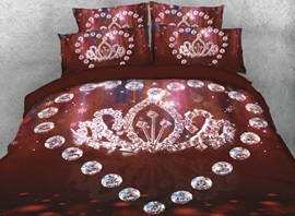 Vivilinen 3D Diamonds of Heart Shape and Crown Printed 4-Piece Bedding Sets