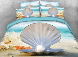 Vivilinen 3D Seaside Shell and Pearl Printed 4-Piece Bedding Sets/Duvet Cover
