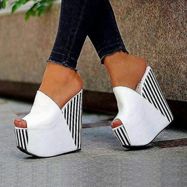 Ericdress White Platform Slip-On Wedge Sandals