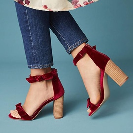 Ericdress Red Bowknot Decorated Open Toe Plain Wedge Sandals