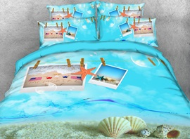 Vivilinen 3D Starfish and Shell Postcard Printed 4-Piece Bedding Sets/Duvet Cover