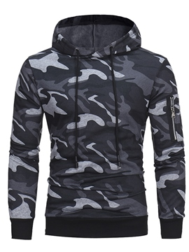 Ericdress Camouflage Print Lace-Up Men's Hoodie