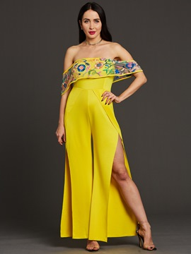 Ericdress Embroidery Patchwork Wide Legs Jumpsuits Pants