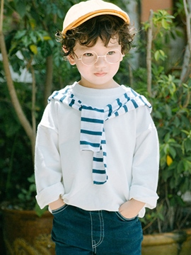 Ericdress Plain with Stripe Tie Unisex Kids' T-shirt
