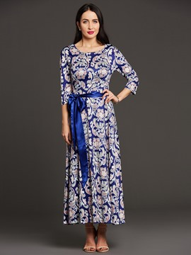 Ericdress Floral Print Lace-Up 3/4 Sleeve Women's Maxi Dress