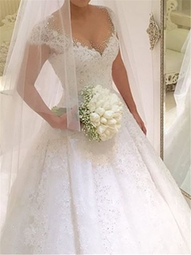 Ericdress Tulle Cap Sleeves Ball Gown Wedding Dress