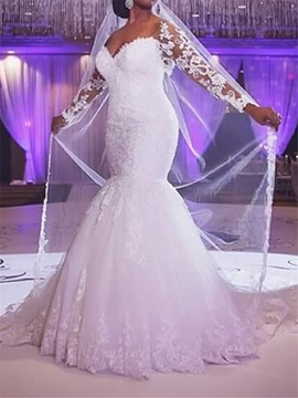 Ericdress Long Sleeves Mermaid Appliques Plus Size Wedding Dress