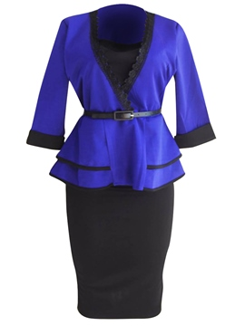 Ericdress Ruffles Jacket and Skirt Women's Suit