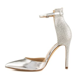 Ericdress Silver Pointed Toe Sequin Stiletto Heel Pumps