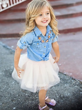 Ericdress Denim Romper with Mesh Skirt Girls' Outfit