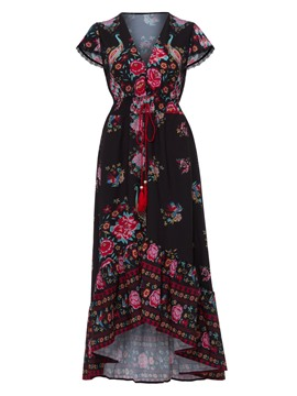 Ericdress Asym V-Neck Floral Print Women's Maxi Dress