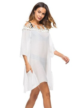 Ericdress Plain Lace Trim See-Through Cover Up