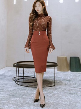 Ericdress Lace Shirt and Skirt Women's Suit
