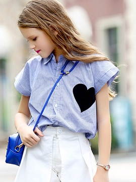 Ericdress Heart Shaped Print Short Sleeve Girl's Shirt