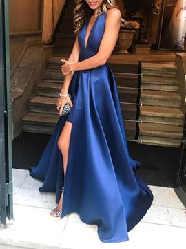 Ericdress A Line Halter Long Prom Dress With Sexy Slit