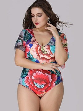 Ericdress Floral Print Plus Size One Piece Bathing Suit