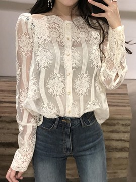 Ericdress Slim Single-Breasted Lace Blouse