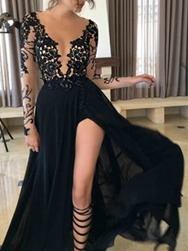 Ericdress Sexy V-Neck Long Sleeves Black Prom Dress With Split-Front