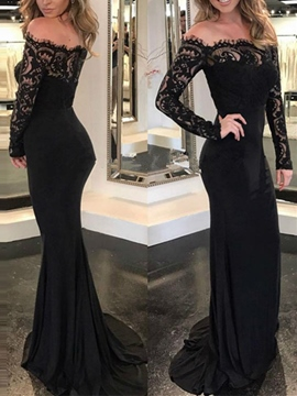 5628d4718a Ericdress Off-the-Shoulder Lace Mermaid Evening Dress 2019 With Long Sleeves
