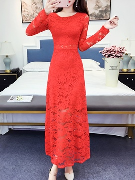 Ericdress Plain Long Sleeve Lace Women's Maxi Dress