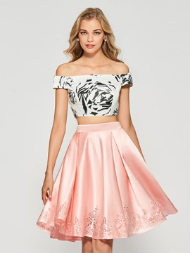 Ericdress Off-the-Shoulder Printed Floor-Length Cocktail Dress