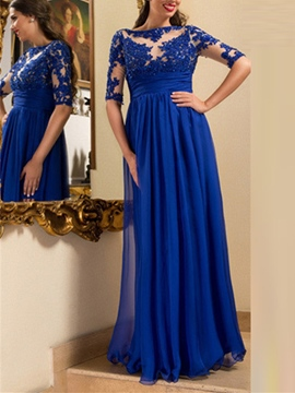 Ericdress A Line Half Sleeve Applique Long Evening Dress