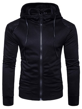 Ericdress Plain Zipper Men's Hooded Tops