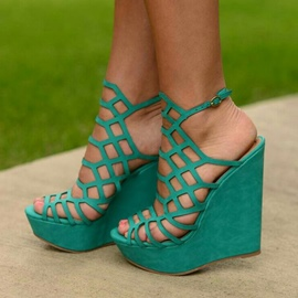 Ericdress Green Strappy Peep Toe Wedge Sandals