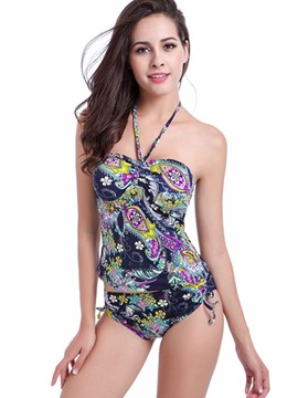 Ericdress Halter Floral Pleated Tankini Set