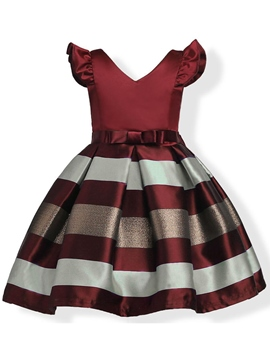 Ericdress Ruffle Sleeve V-Neck Patchwork Girl's Princess Dress