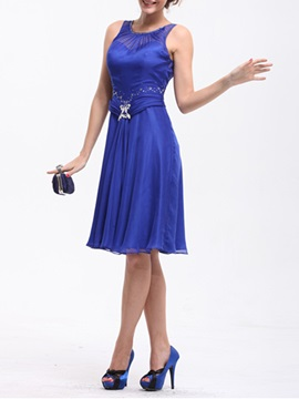 A-Line Jewel Neckline Knee-Length Sleeveless Mother Dress